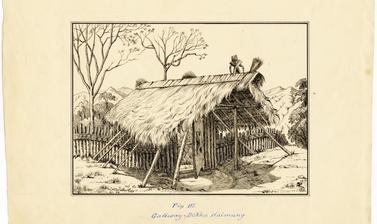 'Gateway. Dekha Haimung' (handwritten caption). Entrance gate to the Ao Naga village of Dekha Haimong, in the Naga Hills District of Assam (now in Nagaland), India. Ink drawing by Robert Gosset Woodthorpe. Dated 1875. (Copyright Pitt Rivers Museum, Univer