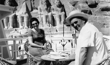 Egypt, 1962. Josip Broz Tito with his wife Jovanka on a ship in front of the temple in Abu Simbel. (Copyright Museum of Yugoslavia, Belgrade)
