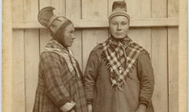 Portrait of two Saami women, standing, wearing distinctive hats. Photographer unknown; carte de visite issued by Braekstad & Co. Trondheim, Norway. Circa 1870s. (Copyright Pitt Rivers Museum, University of Oxford. Accession Number: 1941.8.41)
