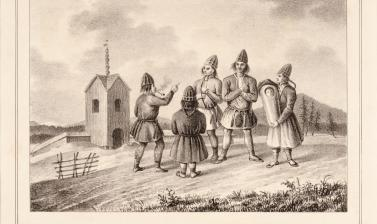 Lithograph produced in Berlin by Hermann Delius, published in 1841, showing a group of five Saami people, one of whom carries a baby, with the old wooden church at Arvidsjaur depicted in the background. (Copyright Pitt Rivers Museum, University of Oxford.