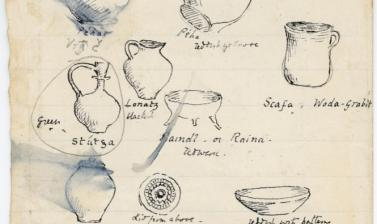 'Croatian Crockery.' Depictions of nine variously shaped pots or vessels, identified as pottery for sale at the market in Zagreb, Croatia, with accompanying notes: 'Went into crockery market to study crocks - the chief forms are a wine, beer, or water jug