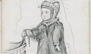 Portrait of a Saami girl. 'This is a delightful little family', Arthur Evans wrote of his hosts at Lake Inari in Finnish Lapland. 'There is a little girl of 3 in a Lapp cap & blue tunic with the usual blue stripes about it; & a little boy of 5 who recited