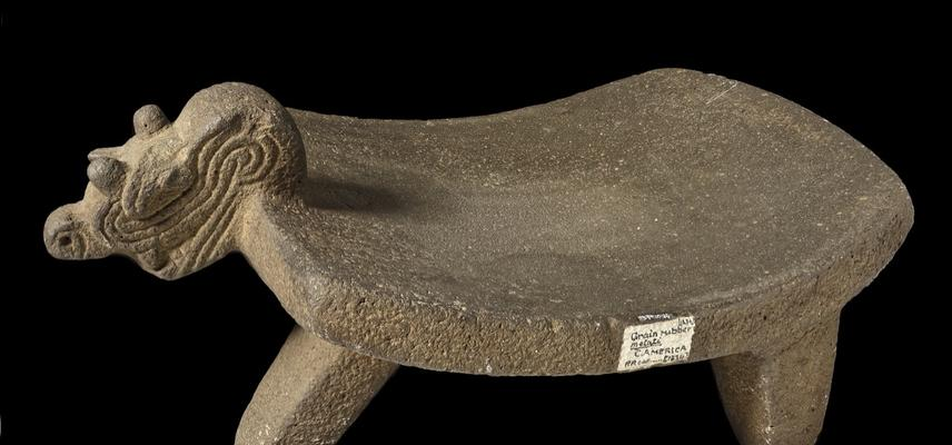 Stone grinder with a carved animal head.  The saddle shaped grinder has 3 legs.  The grinding surface is rectangular, smooth and concave. The animal face has a long curved mouth and 4 short horns.