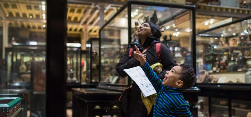 A family at the Pitt Rivers Museum