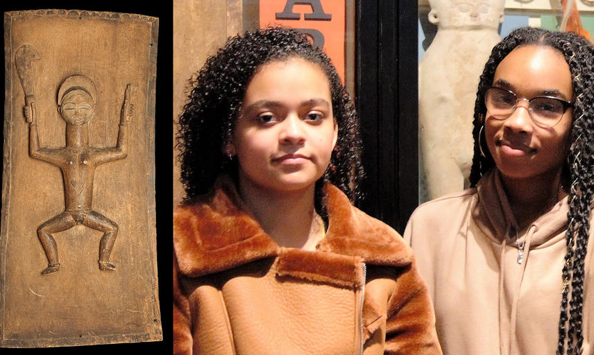 Teoni Siani-Dash & Abigail Tucker with carving showing scarification