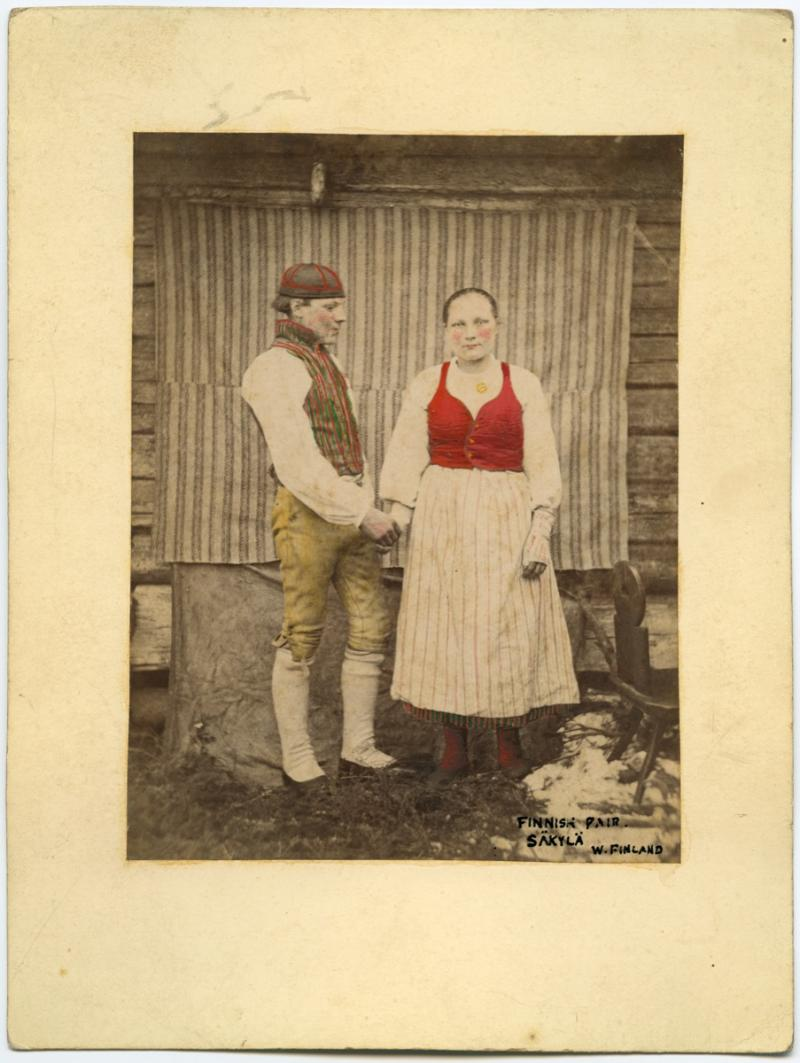 Carte-de-visite of Finnish couple, collected by Arthur Evans in 1873. PRM 1941.8.78.