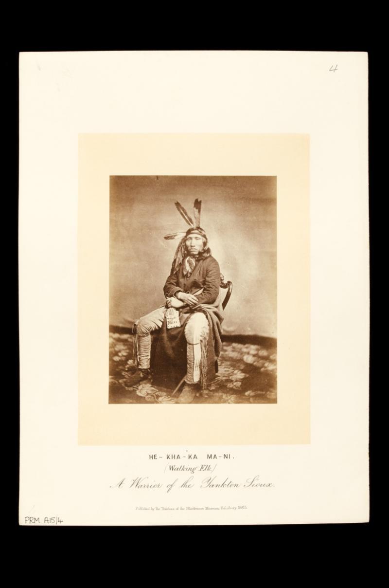 Studio portrait of Hekha'ka Ma'ni  [Walking Elk], by Julian Vannerson  & James E. McClees, 1858–9.  PRM 1998.129.4