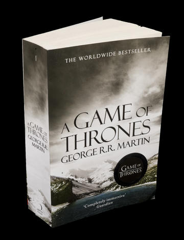 Picture of a copy of worldwide bestseller paperback book A Game of Thrones.